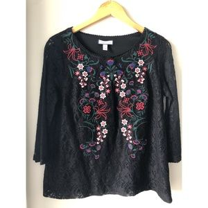 Charter Club Lace Embroidered Floral Top Small